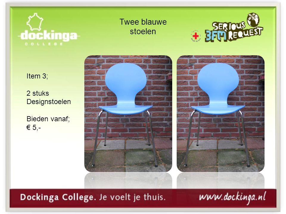 Twee blauwe stoelen Item 3; 2 stuks Designstoelen Bieden vanaf; € 5,-