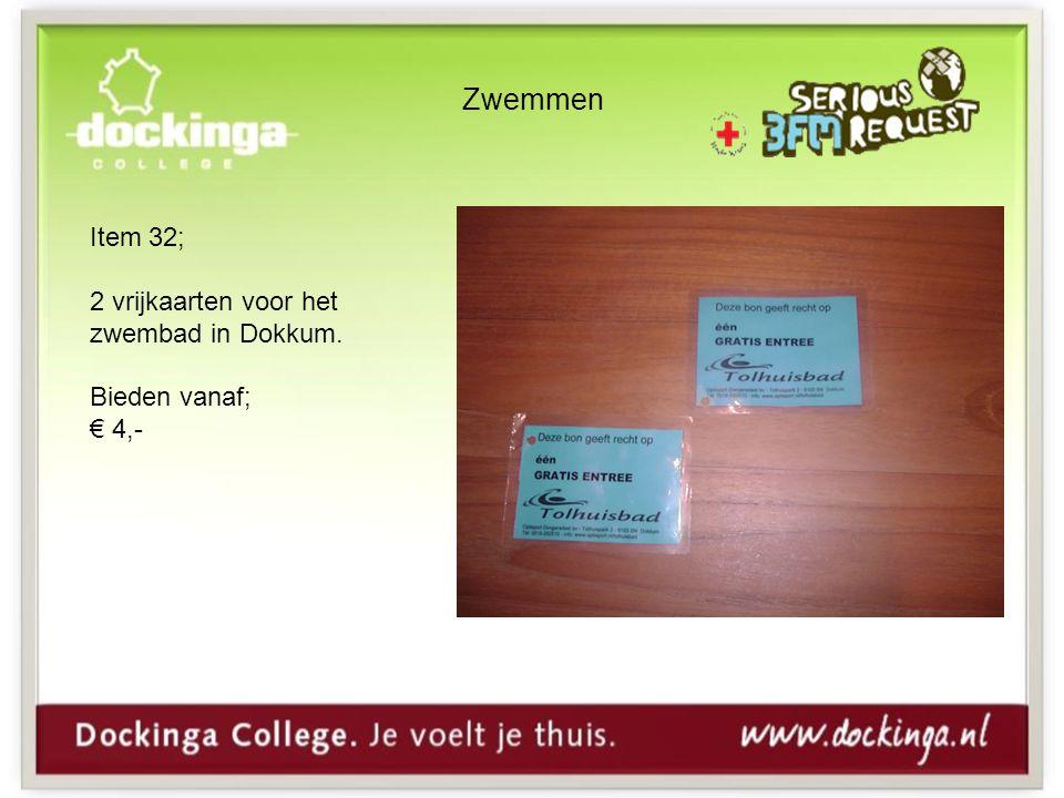 Zwemmen Item 32; 2 vrijkaarten voor het zwembad in Dokkum. Bieden vanaf; € 4,-