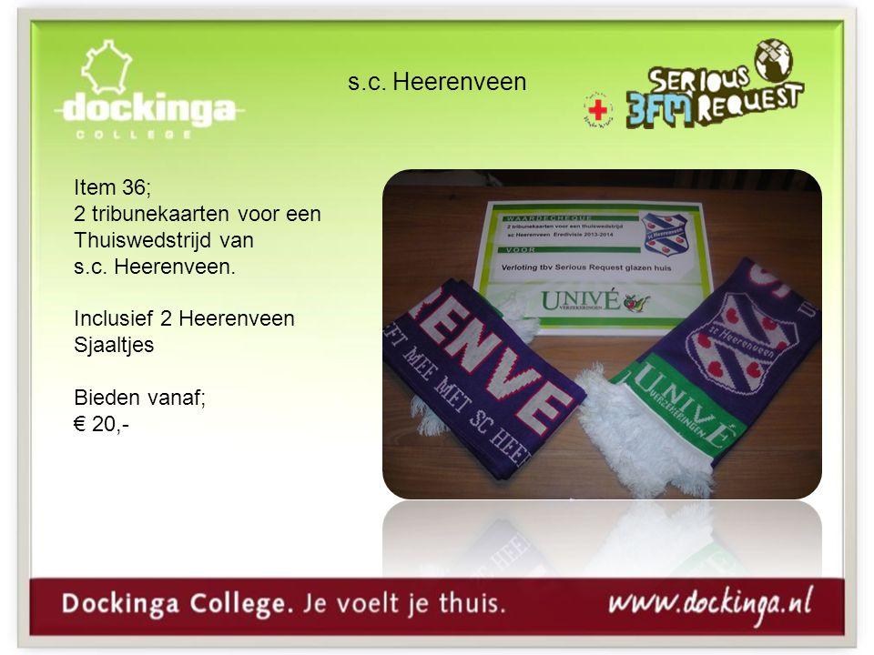 s.c. Heerenveen Item 36; 2 tribunekaarten voor een Thuiswedstrijd van s.c.