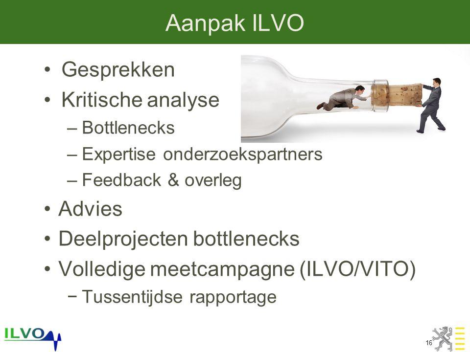Aanpak ILVO 16 •Gesprekken •Kritische analyse –Bottlenecks –Expertise onderzoekspartners –Feedback & overleg •Advies •Deelprojecten bottlenecks •Volledige meetcampagne (ILVO/VITO) −Tussentijdse rapportage