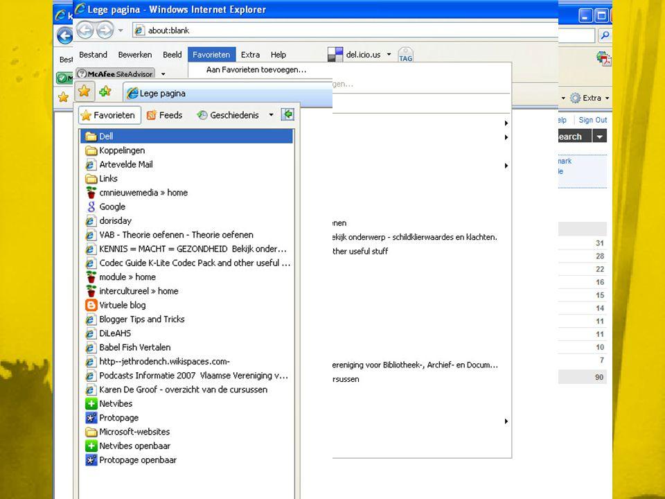 Module: Delicious • Verzameling 'favorieten of bookmarks' • Eenvoudig om eigen bookmarks bij te houden • Je kan er overal aan (waar internet is) • Gebruikt tags (voor de organisatie) = veel flexibeler • De bedoeling is om je data beter te organiseren en ordenen, waardoor je sneller die informatie terug kan vinden • Vroeger: in de browser • Nu: Online