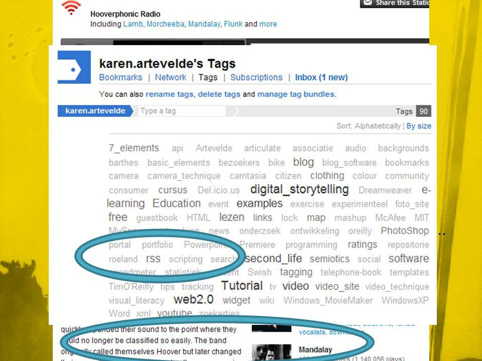 • Door ook de tags van anderen te gebruiken in je zoektocht naar informatie, kan je sneller interessante informatie ontdekken Social bookmarking • Je kan bookmarks van iedereen bekijken = nieuwe dingen ontdekken • Je deelt ze met iedereen