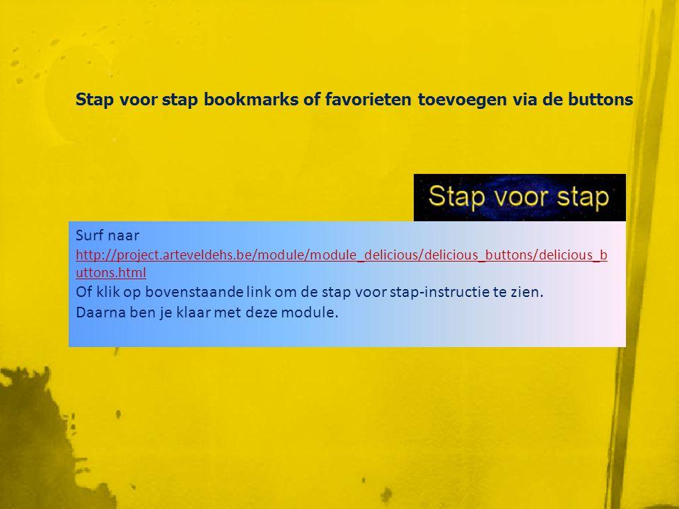 Bookmarks toevoegen via post • URL van de 'te bookmarken' pagina kopiëren • Je werkt op een willekeurige computer • Die beschikt niet over de buttons • Eerst aanmelden • Via 'post' integreren in jouw Del.ico.us-ruimte • http://delicous/jouw_login = iedereen kijkt meehttp://delicous/jouw_login