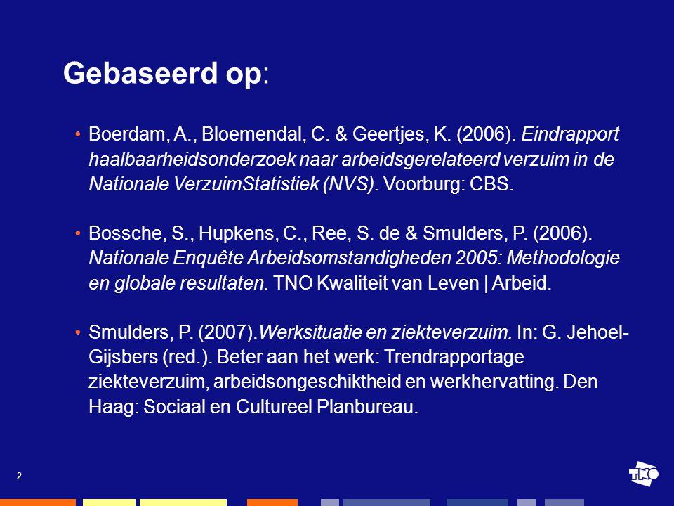 2 •Boerdam, A., Bloemendal, C. & Geertjes, K. (2006). Eindrapport haalbaarheidsonderzoek naar arbeidsgerelateerd verzuim in de Nationale VerzuimStatis