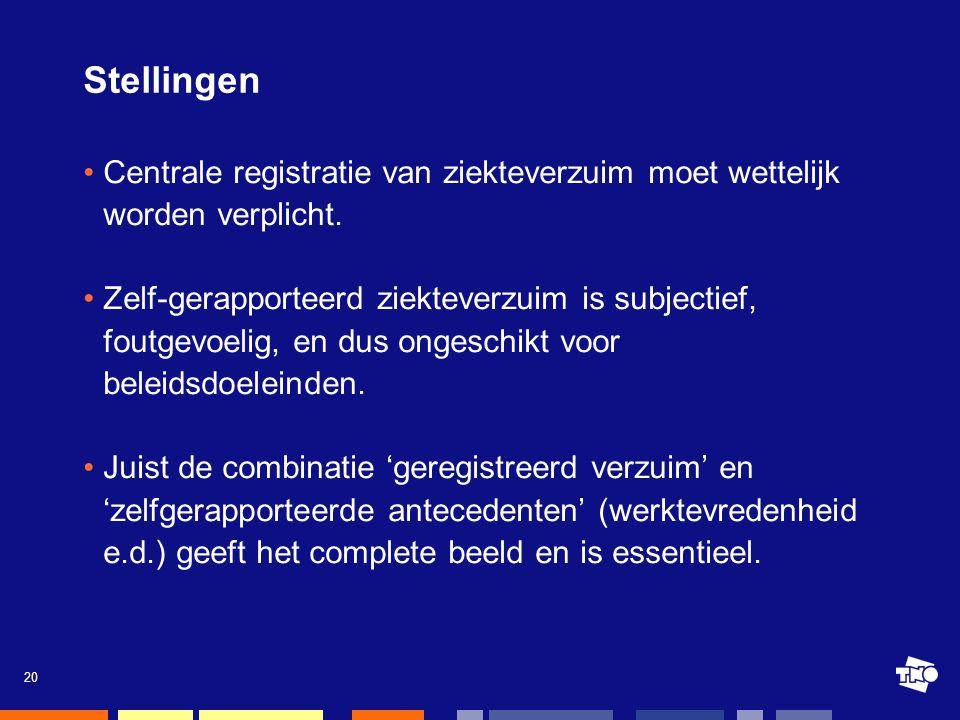 20 Stellingen •Centrale registratie van ziekteverzuim moet wettelijk worden verplicht.