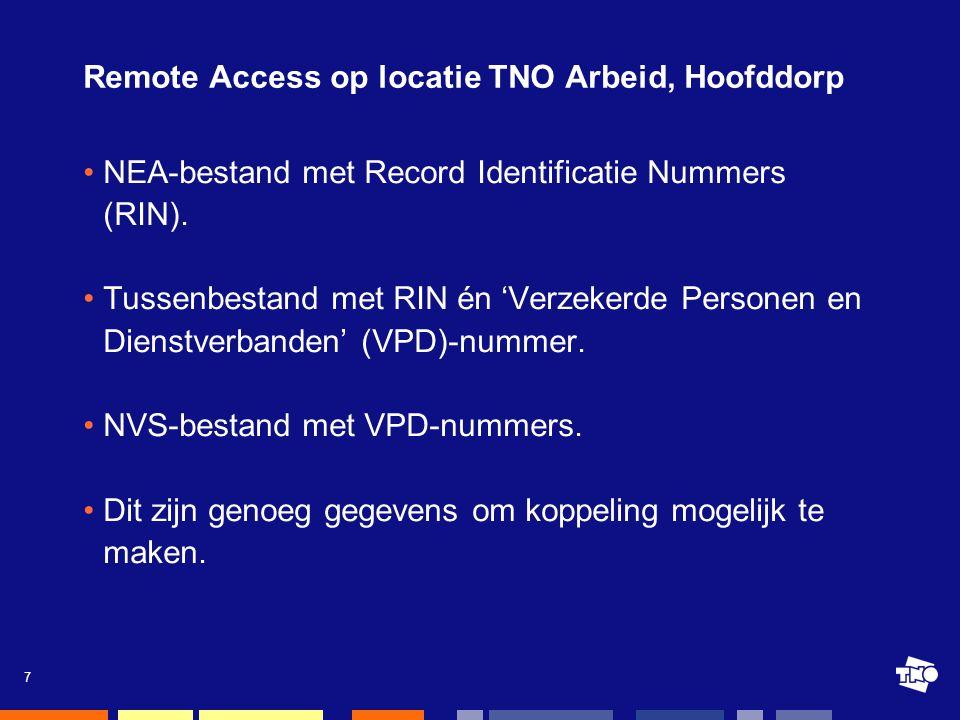 7 Remote Access op locatie TNO Arbeid, Hoofddorp •NEA-bestand met Record Identificatie Nummers (RIN).