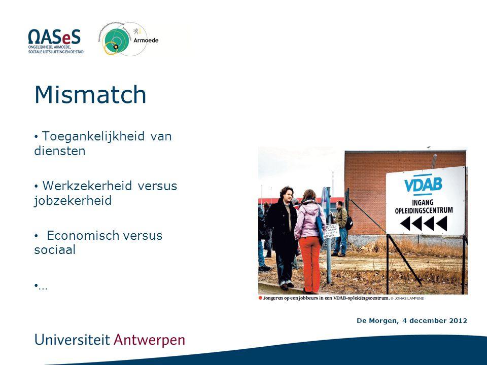 De Morgen, 4 december 2012 Mismatch • Toegankelijkheid van diensten • Werkzekerheid versus jobzekerheid • Economisch versus sociaal • …