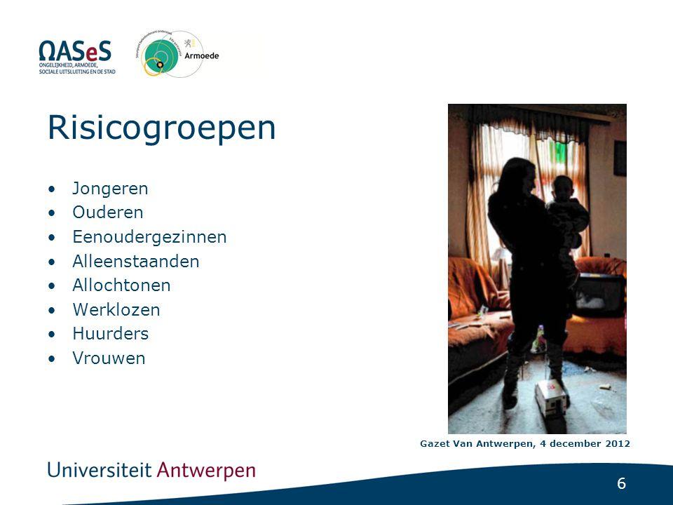 6 Risicogroepen •Jongeren •Ouderen •Eenoudergezinnen •Alleenstaanden •Allochtonen •Werklozen •Huurders •Vrouwen Gazet Van Antwerpen, 4 december 2012