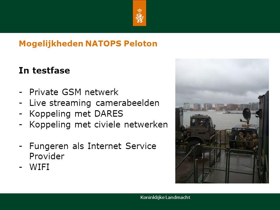 Koninklijke Landmacht In testfase -Private GSM netwerk -Live streaming camerabeelden -Koppeling met DARES -Koppeling met civiele netwerken -Fungeren a