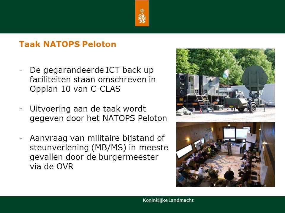 Koninklijke Landmacht Taak NATOPS Peloton -De gegarandeerde ICT back up faciliteiten staan omschreven in Opplan 10 van C-CLAS -Uitvoering aan de taak