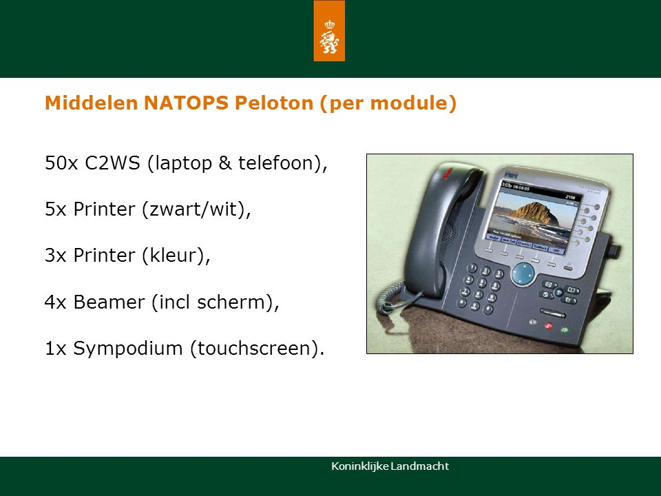 Koninklijke Landmacht Middelen NATOPS Peloton Personeel 1x Cogp met: 1x Pelotons cdt (lnt) 1x Plaatsvervangend pelotons cdt (sm) 1x Onderofficier CIS opleidingen en operatiën (sgt1) 3x module met per module: 1x Onderofficier senior CIS operator (sgt) 4x CIS specialist (kpl) 2x Senior CIS operator (sld)