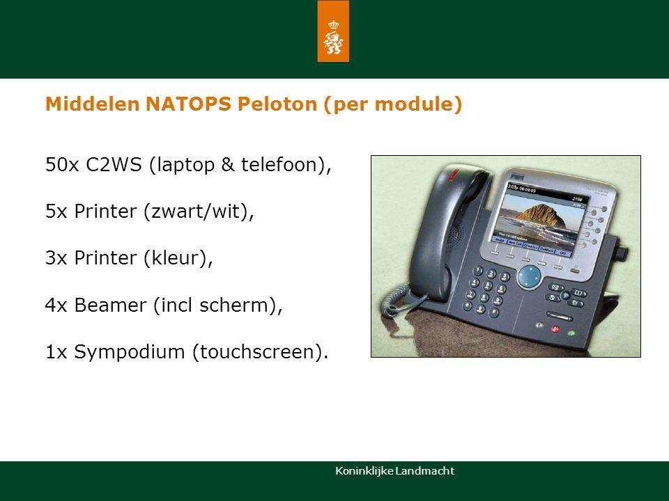 Koninklijke Landmacht Middelen NATOPS Peloton (per module) 50x C2WS (laptop & telefoon), 5x Printer (zwart/wit), 3x Printer (kleur), 4x Beamer (incl s