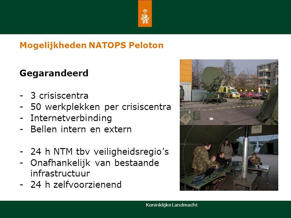 Koninklijke Landmacht Gegarandeerd -3 crisiscentra -50 werkplekken per crisiscentra -Internetverbinding -Bellen intern en extern -24 h NTM tbv veiligh