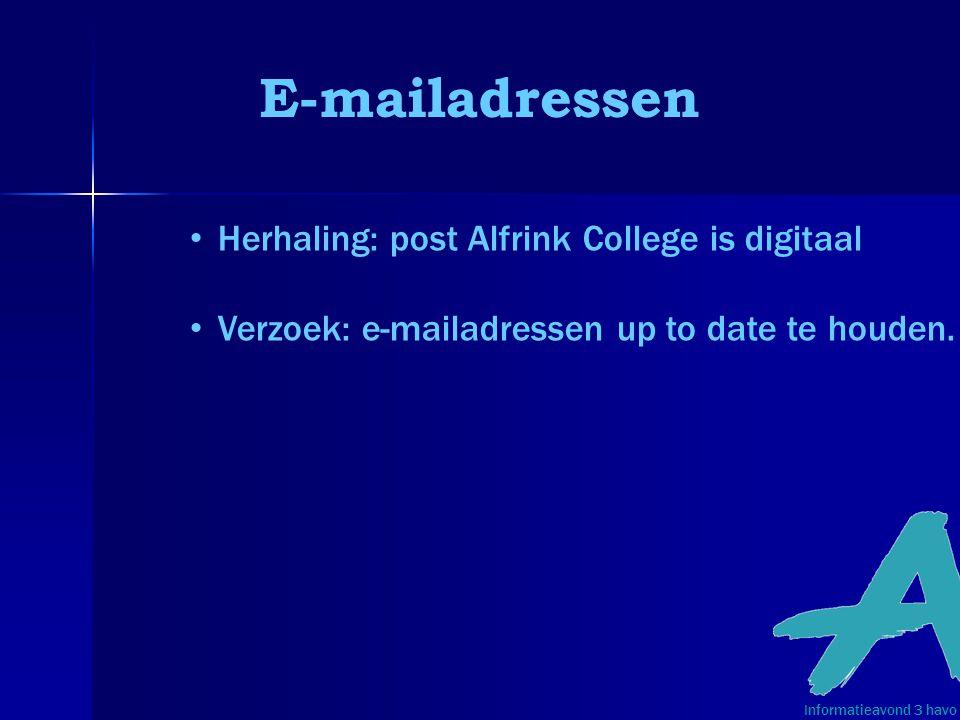 E-mailadressen Informatieavond 3 havo • Herhaling: post Alfrink College is digitaal • Verzoek: e-mailadressen up to date te houden.