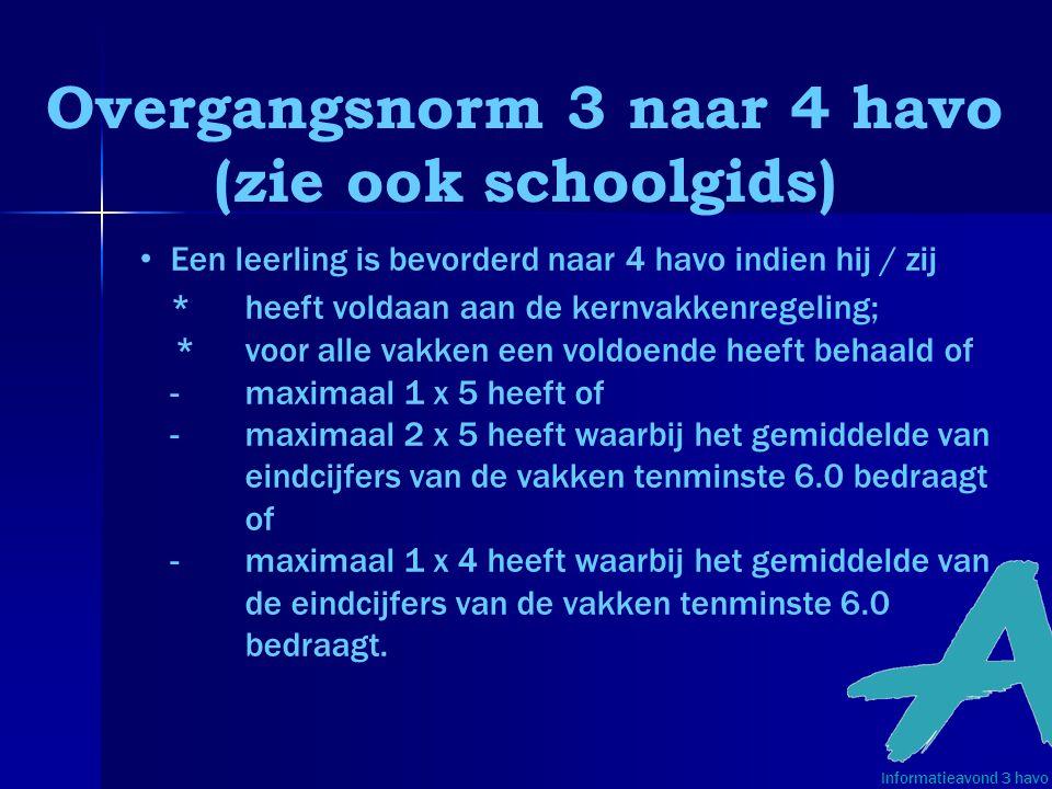 Overgangsnorm 3 naar 4 havo (zie ook schoolgids) Informatieavond 3 havo • Een leerling is bevorderd naar 4 havo indien hij / zij * heeft voldaan aan d