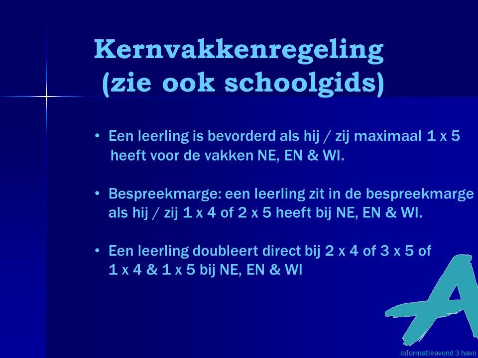 Kernvakkenregeling (zie ook schoolgids) Informatieavond 3 havo • Een leerling is bevorderd als hij / zij maximaal 1 x 5 heeft voor de vakken NE, EN &