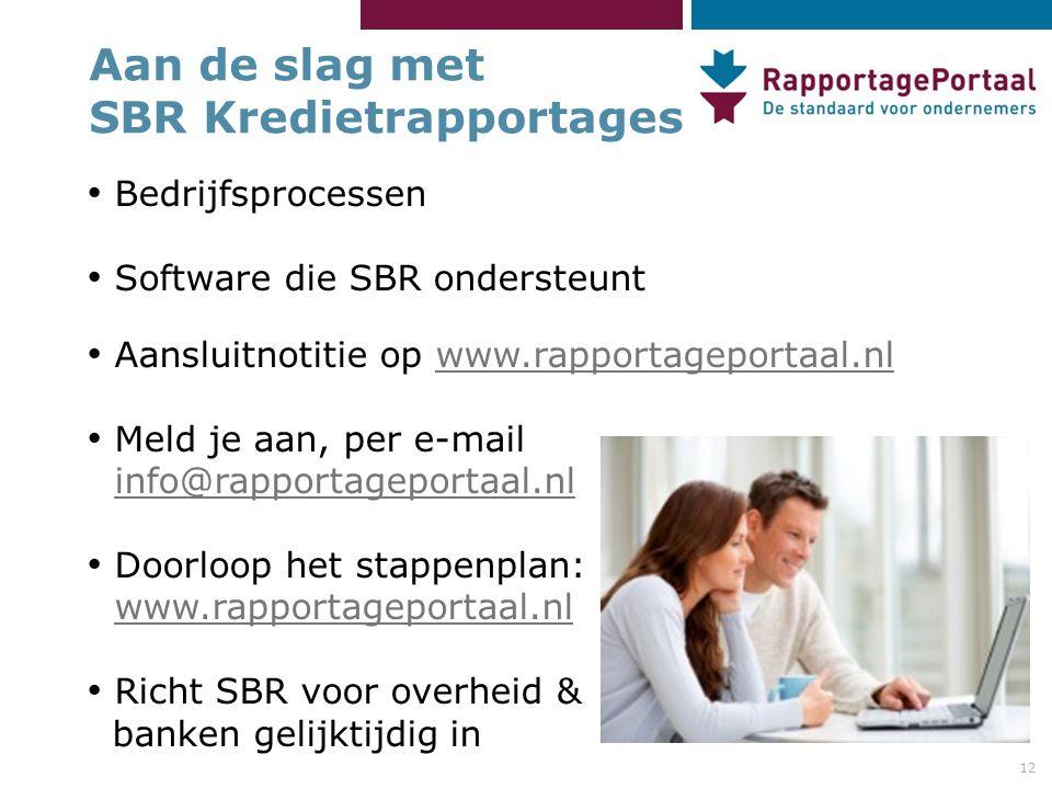 12 Aan de slag met SBR Kredietrapportages • Bedrijfsprocessen • Software die SBR ondersteunt • Aansluitnotitie op www.rapportageportaal.nlwww.rapportageportaal.nl • Meld je aan, per e-mail info@rapportageportaal.nl info@rapportageportaal.nl • Doorloop het stappenplan: www.rapportageportaal.nl • Richt SBR voor overheid & banken gelijktijdig in