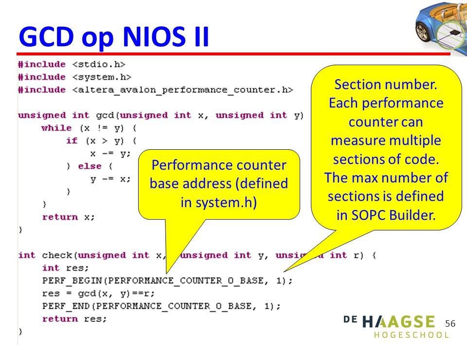 56 GCD op NIOS II Performance counter base address (defined in system.h) Section number.