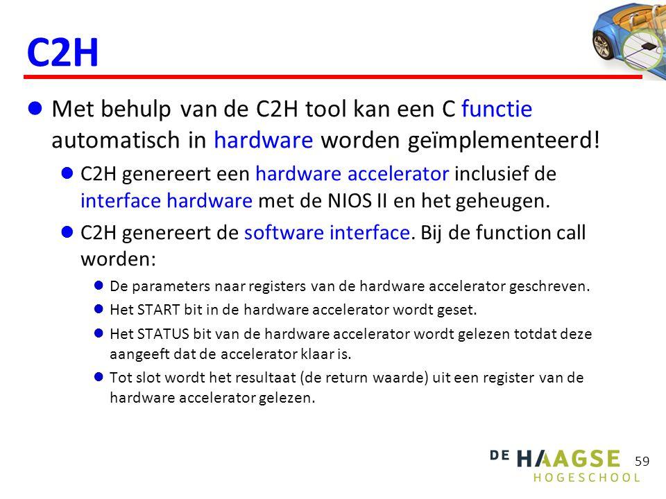 59 C2H  Met behulp van de C2H tool kan een C functie automatisch in hardware worden geïmplementeerd.
