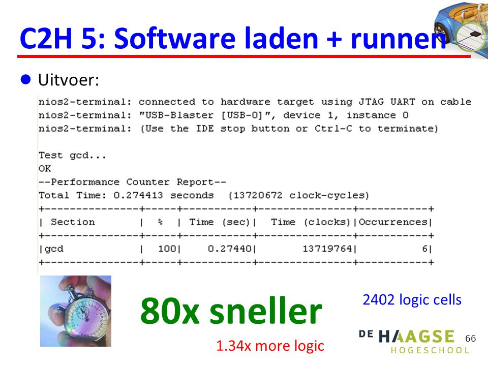 66 C2H 5: Software laden + runnen  Uitvoer: 80x sneller 2402 logic cells 1.34x more logic
