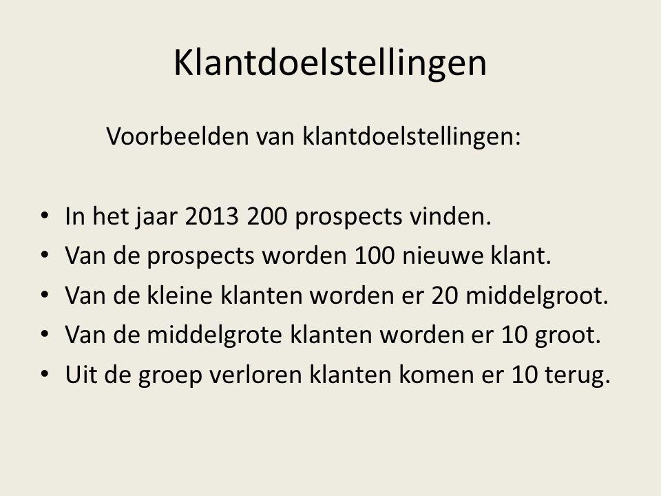 Klantdoelstellingen Voorbeelden van klantdoelstellingen: • In het jaar 2013 200 prospects vinden. • Van de prospects worden 100 nieuwe klant. • Van de