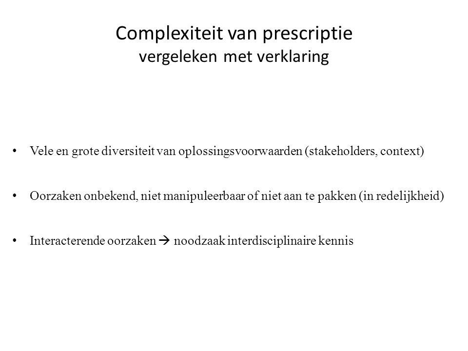 Complexiteit van prescriptie vergeleken met verklaring • Vele en grote diversiteit van oplossingsvoorwaarden (stakeholders, context) • Oorzaken onbeke