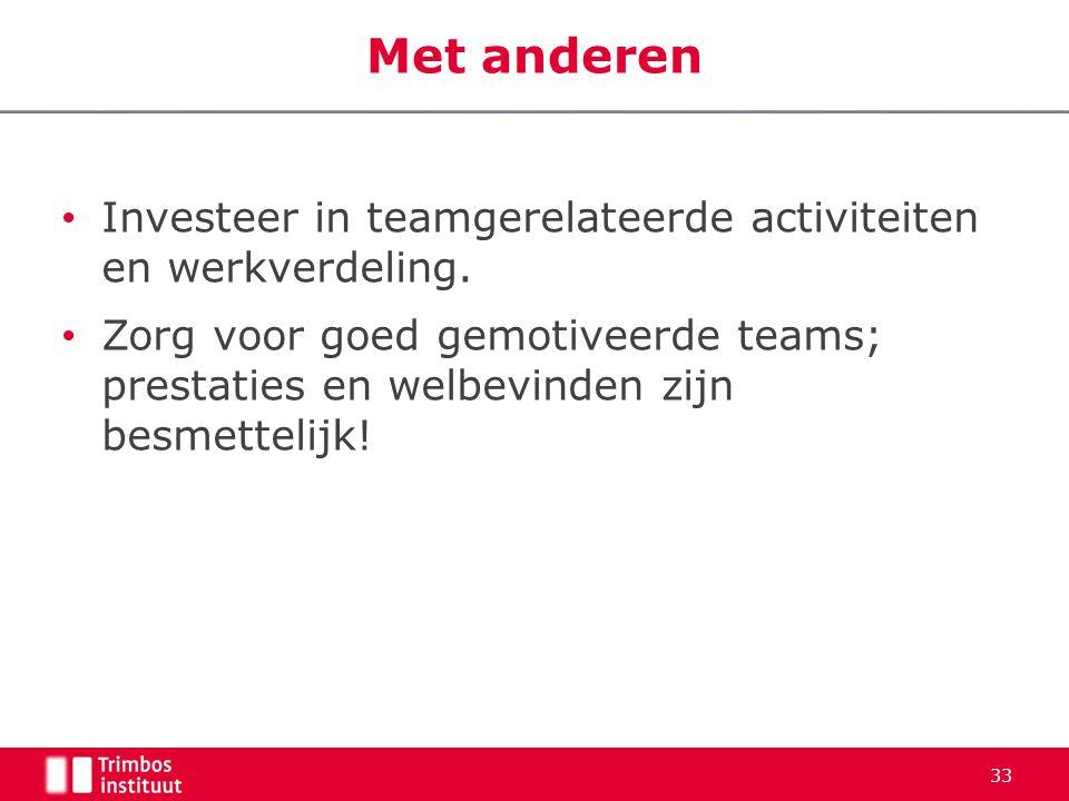 • Investeer in teamgerelateerde activiteiten en werkverdeling.