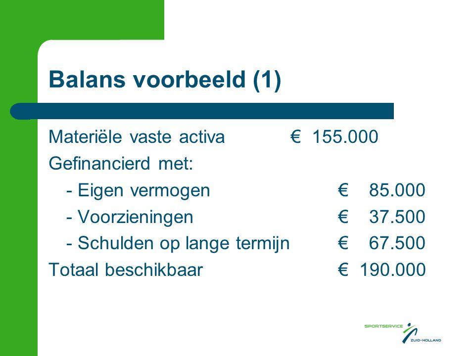 Balans voorbeeld (1) Materiële vaste activa € 155.000 Gefinancierd met: - Eigen vermogen € 85.000 - Voorzieningen € 37.500 - Schulden op lange termijn