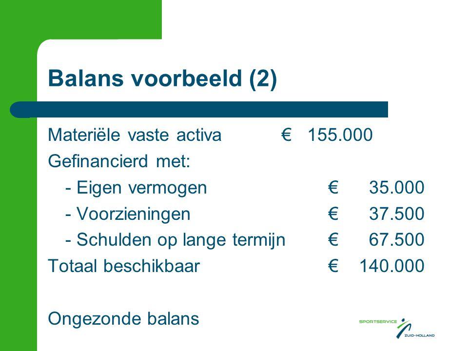 Balans voorbeeld (2) Materiële vaste activa€ 155.000 Gefinancierd met: - Eigen vermogen€ 35.000 - Voorzieningen€ 37.500 - Schulden op lange termijn€ 6