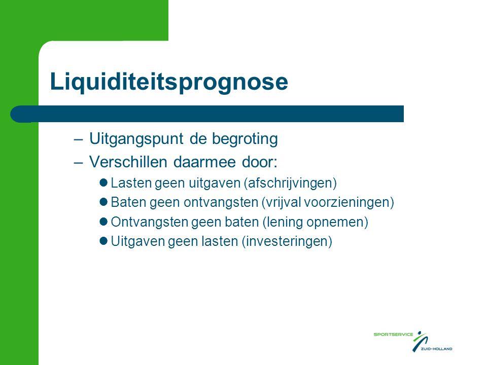 Liquiditeitsprognose –Uitgangspunt de begroting –Verschillen daarmee door:  Lasten geen uitgaven (afschrijvingen)  Baten geen ontvangsten (vrijval v