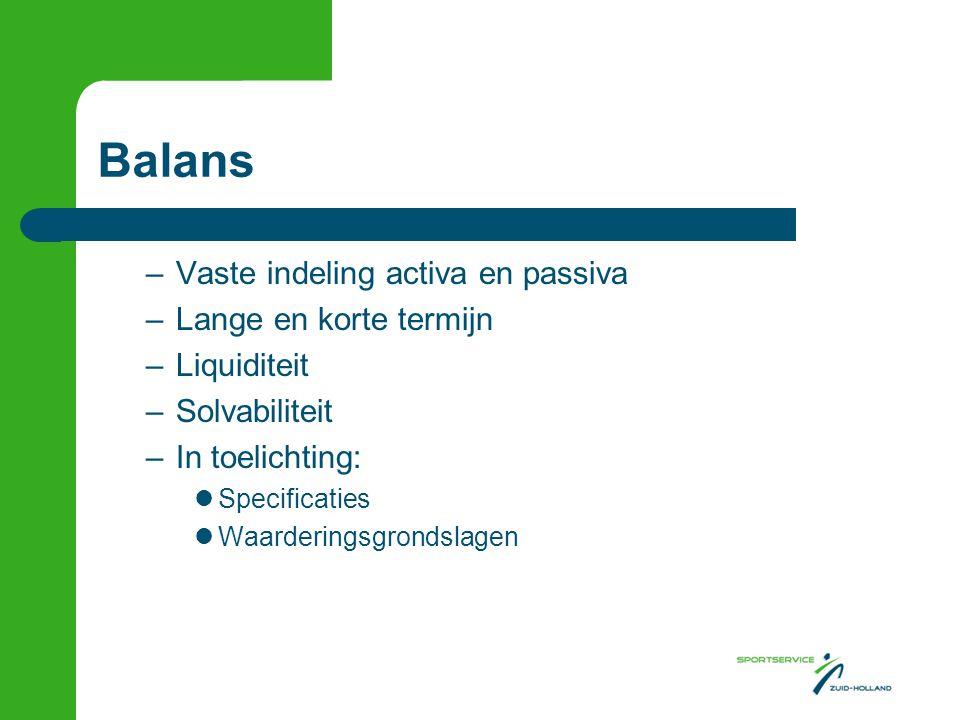 Balans –Vaste indeling activa en passiva –Lange en korte termijn –Liquiditeit –Solvabiliteit –In toelichting:  Specificaties  Waarderingsgrondslagen
