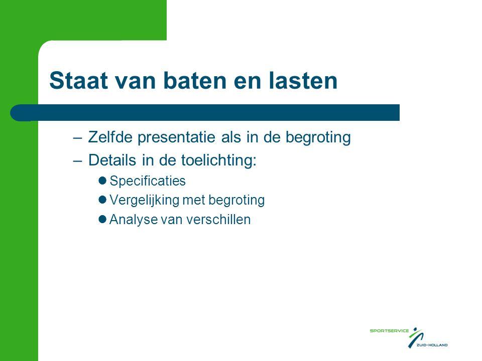 Staat van baten en lasten –Zelfde presentatie als in de begroting –Details in de toelichting:  Specificaties  Vergelijking met begroting  Analyse v