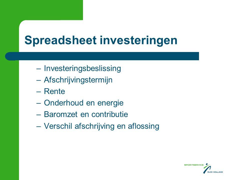 Spreadsheet investeringen –Investeringsbeslissing –Afschrijvingstermijn –Rente –Onderhoud en energie –Baromzet en contributie –Verschil afschrijving e