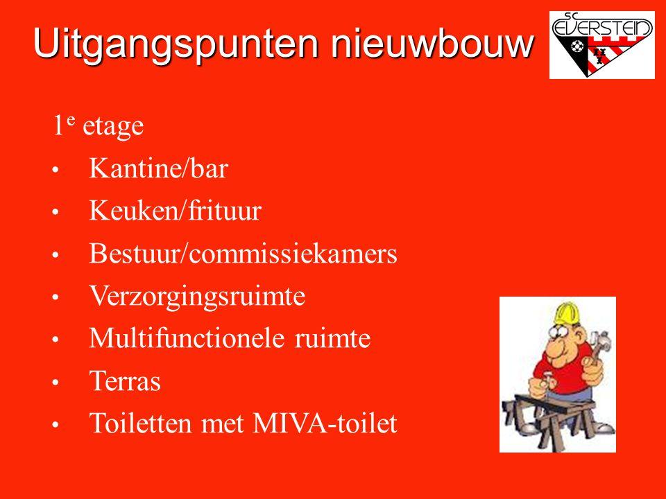 1 e etage • Kantine/bar • Keuken/frituur • Bestuur/commissiekamers • Verzorgingsruimte • Multifunctionele ruimte • Terras • Toiletten met MIVA-toilet