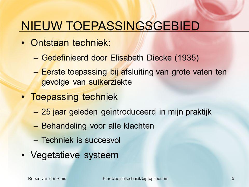 NIEUW TOEPASSINGSGEBIED •Ontstaan techniek: –Gedefinieerd door Elisabeth Diecke (1935) –Eerste toepassing bij afsluiting van grote vaten ten gevolge v