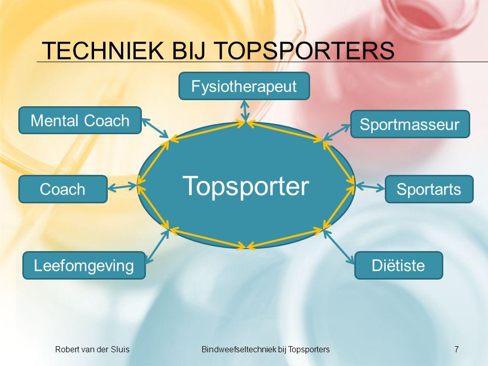 TECHNIEK BIJ TOPSPORTERS 7 Robert van der Sluis Bindweefseltechniek bij Topsporters Topsporter SportartsCoach Diëtiste Sportmasseur Fysiotherapeut Men