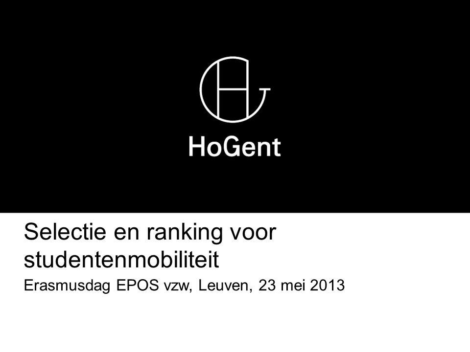 Selectie en ranking voor studentenmobiliteit Erasmusdag EPOS vzw, Leuven, 23 mei 2013