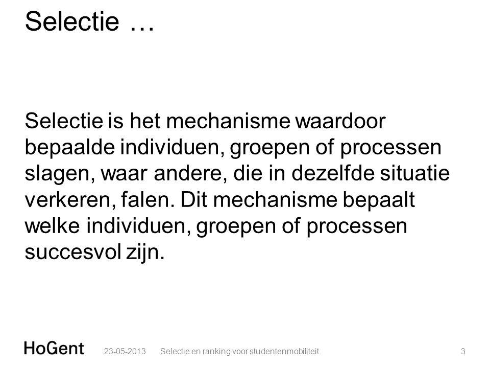 Selectie … Selectie is het mechanisme waardoor bepaalde individuen, groepen of processen slagen, waar andere, die in dezelfde situatie verkeren, falen