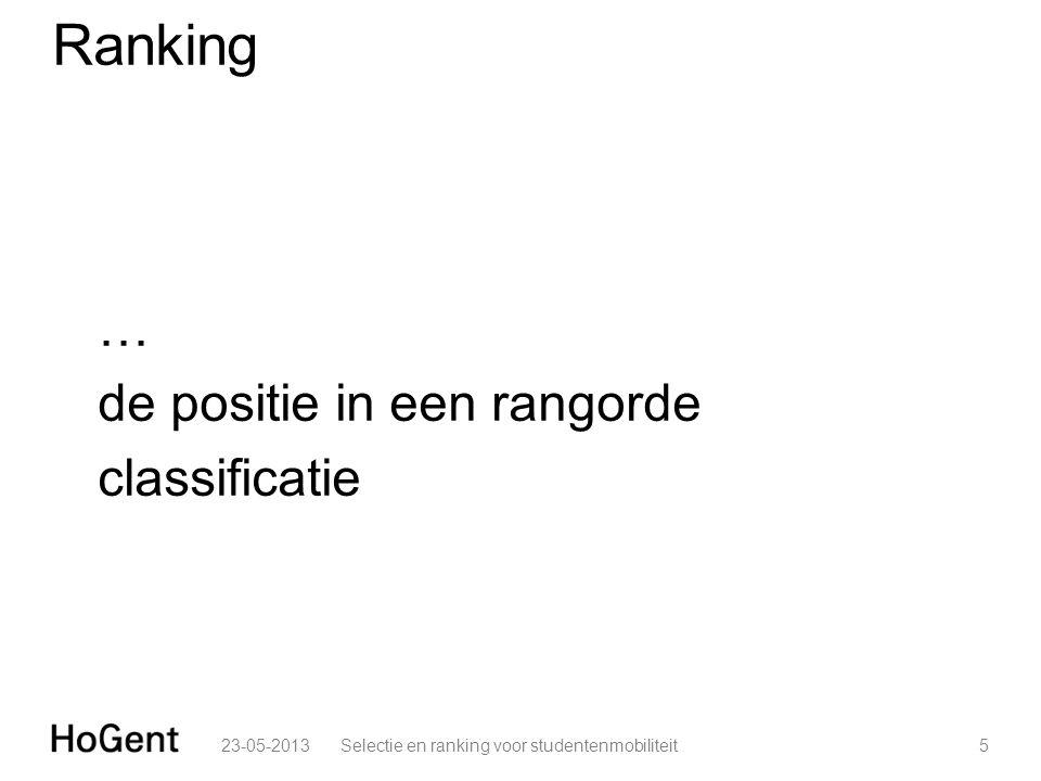 Ranking … de positie in een rangorde classificatie 23-05-20135Selectie en ranking voor studentenmobiliteit