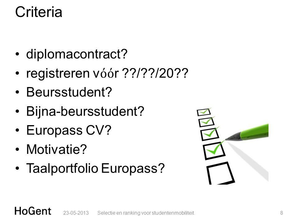 Criteria •diplomacontract? •registreren v όό r ??/??/20?? •Beursstudent? •Bijna-beursstudent? •Europass CV? •Motivatie? •Taalportfolio Europass? 23-05