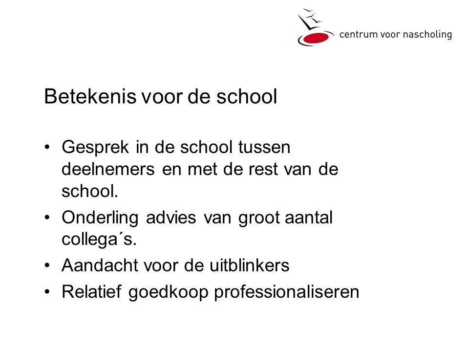 Betekenis voor de school •Gesprek in de school tussen deelnemers en met de rest van de school.