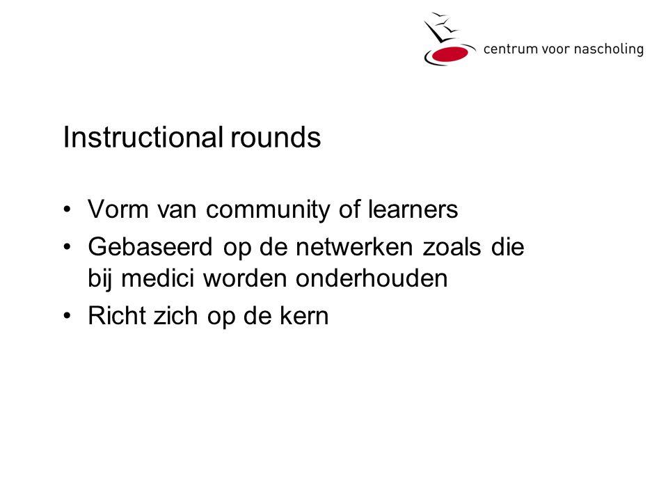 Instructional rounds •Vorm van community of learners •Gebaseerd op de netwerken zoals die bij medici worden onderhouden •Richt zich op de kern