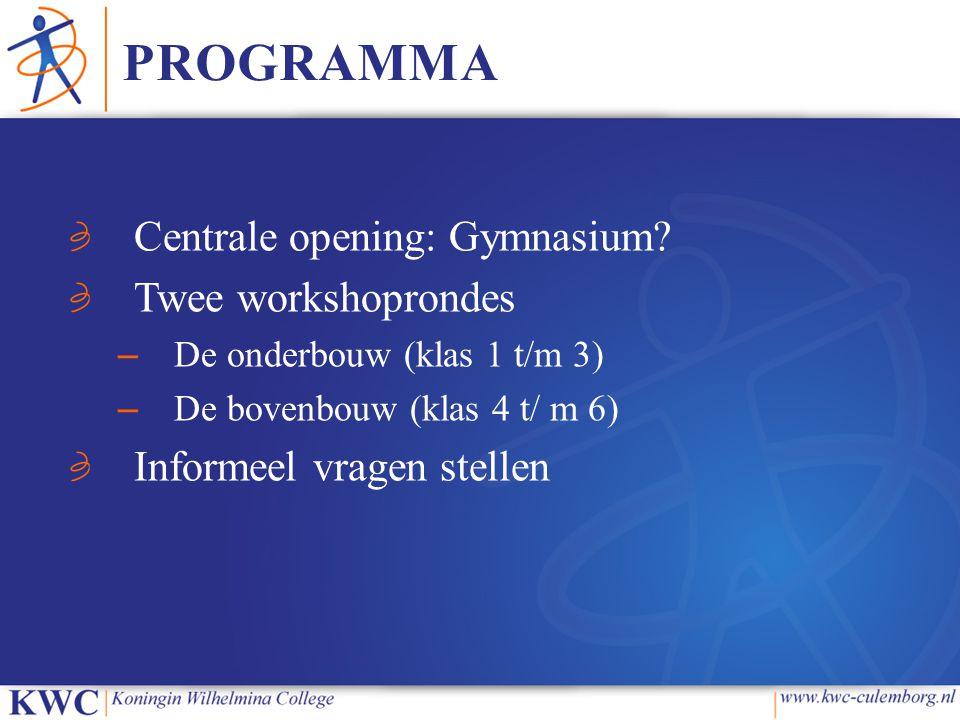 PROGRAMMA Centrale opening: Gymnasium.