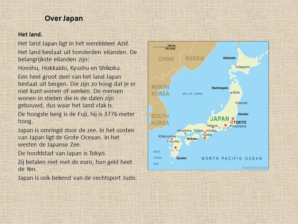 Over Japan Het land.Het land Japan ligt in het werelddeel Azië.