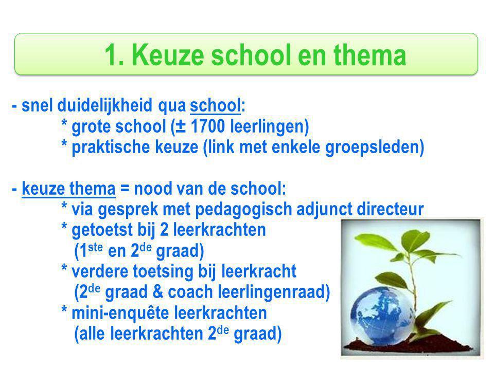 1. Keuze school en thema - snel duidelijkheid qua school: * grote school (± 1700 leerlingen) * praktische keuze (link met enkele groepsleden) - keuze