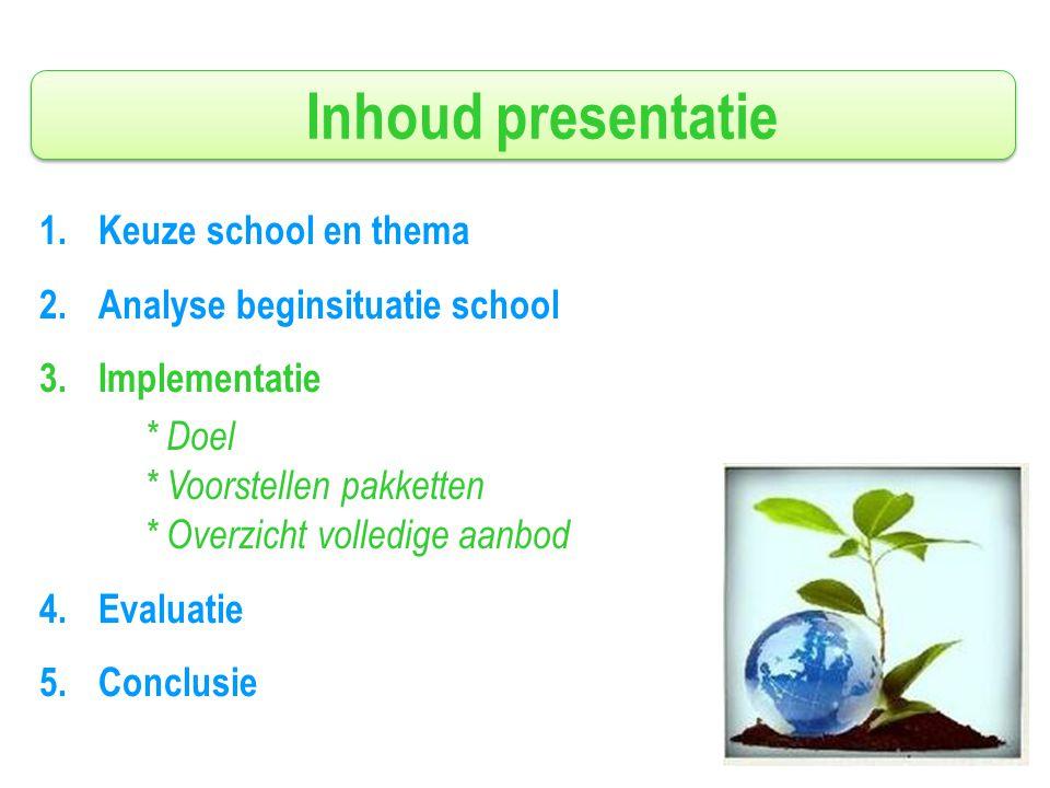 Inhoud presentatie 1.Keuze school en thema 2.Analyse beginsituatie school 3.Implementatie * Doel * Voorstellen pakketten * Overzicht volledige aanbod 4.Evaluatie 5.Conclusie