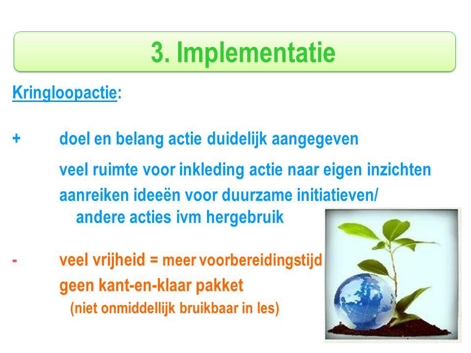 3. Implementatie Kringloopactie: + doel en belang actie duidelijk aangegeven veel ruimte voor inkleding actie naar eigen inzichten aanreiken ideeën vo