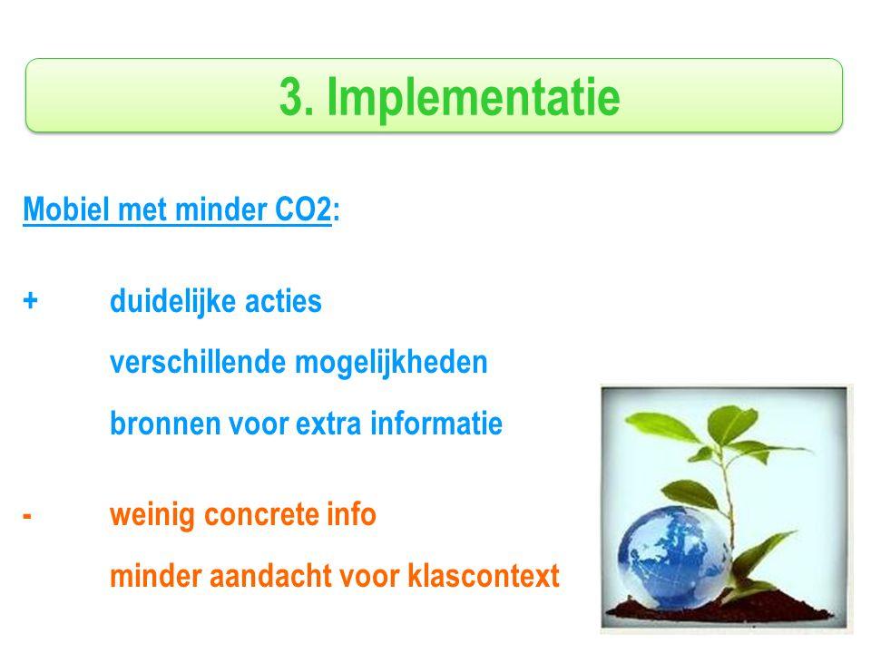 3. Implementatie Mobiel met minder CO2: +duidelijke acties verschillende mogelijkheden bronnen voor extra informatie -weinig concrete info minder aand