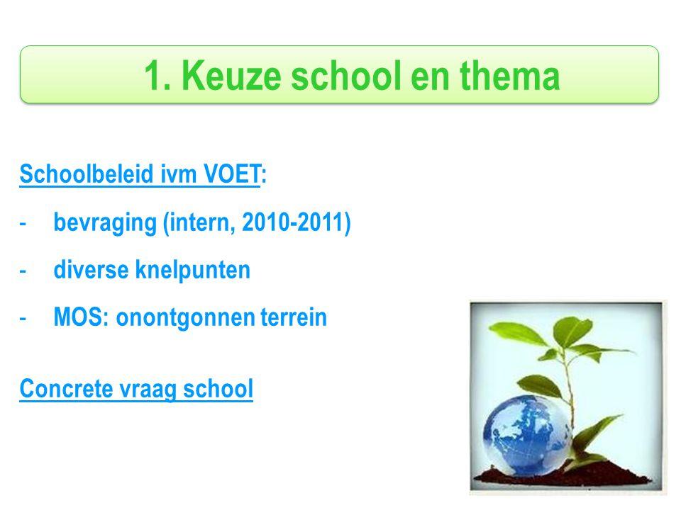 1. Keuze school en thema Schoolbeleid ivm VOET: - bevraging (intern, 2010-2011) - diverse knelpunten - MOS: onontgonnen terrein Concrete vraag school