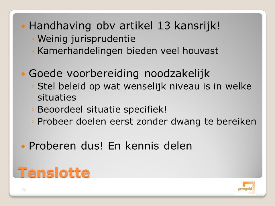  Handhaving obv artikel 13 kansrijk.